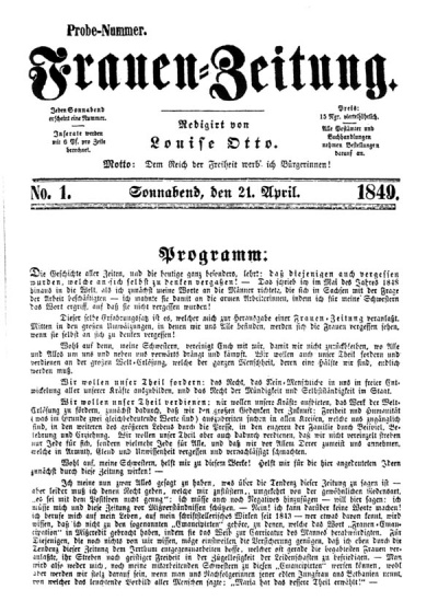 Ffrauenzeitung 1849