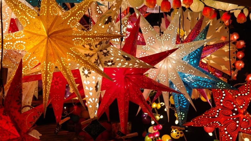 Weihnachtssterne auf Adventsmarkt